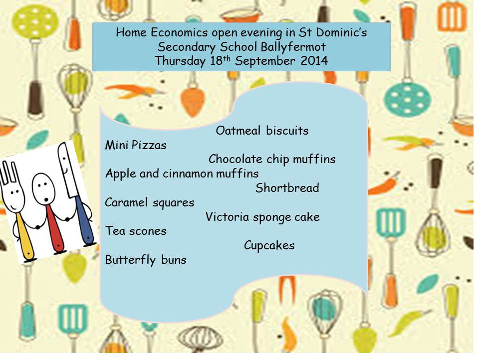 Open evening in the home economics kitchen cad at ar for Home economics
